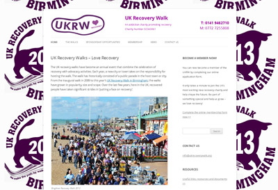UK Recovery Walk Charity Wordpress design and build